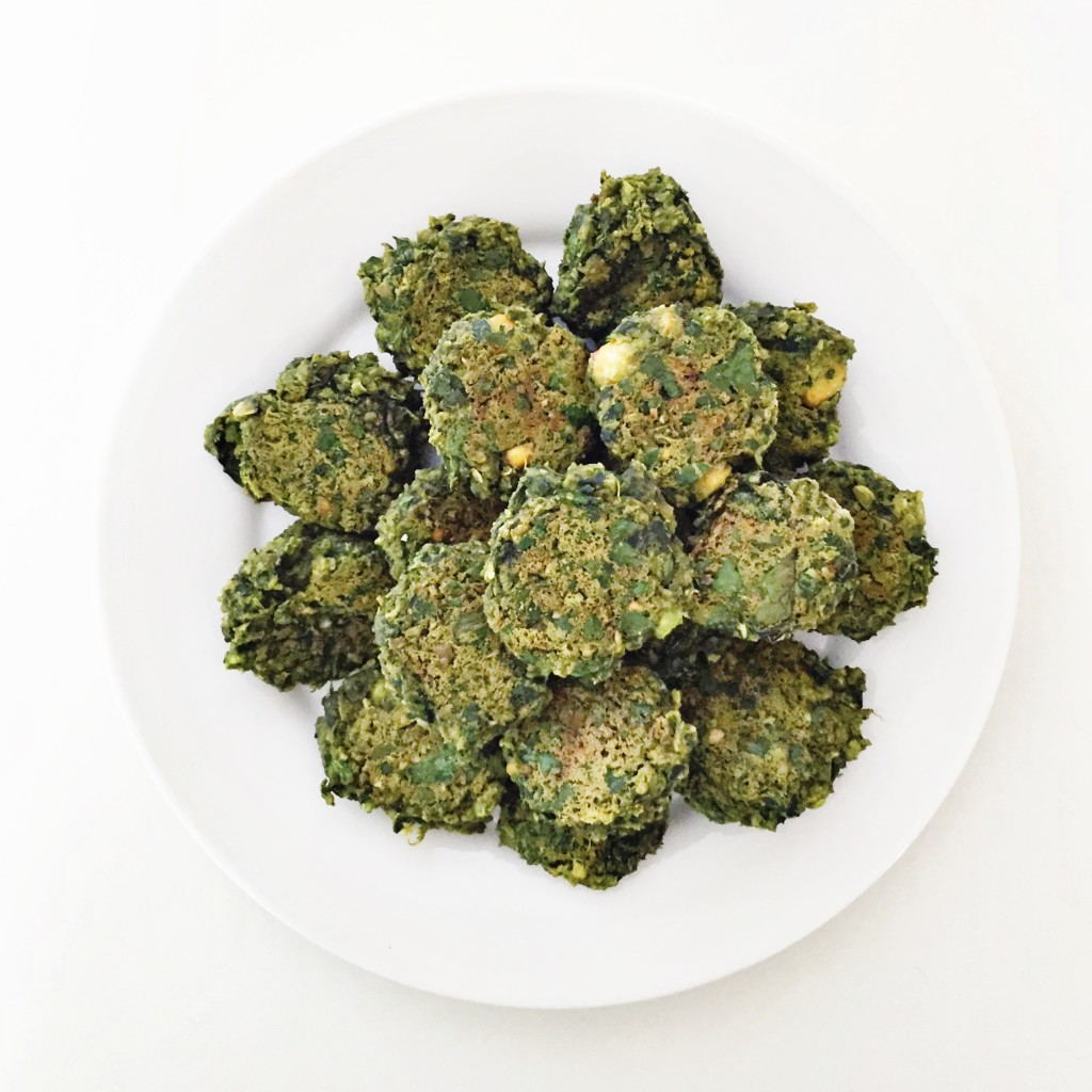 baked spinach + tahini falafel