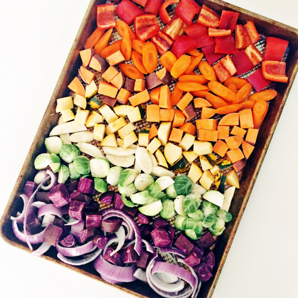 rainbow roasted miso-maple root veggies