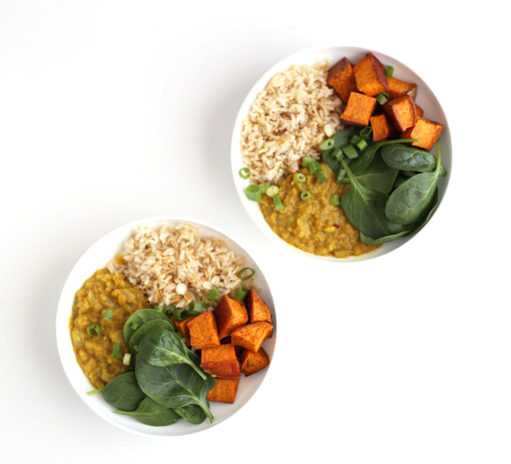 easy indian-style daal and rice bowls
