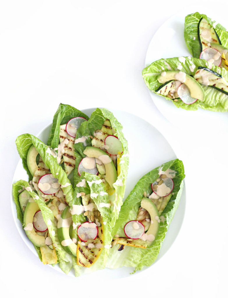 romaine salad with grilled vegetables