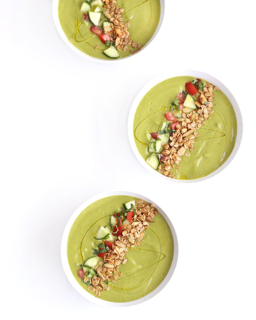 chilled avocado gazpacho with savory granola