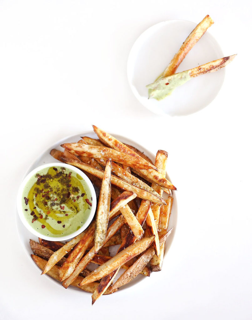 Roasted Garlic Basil Dip + French Fries