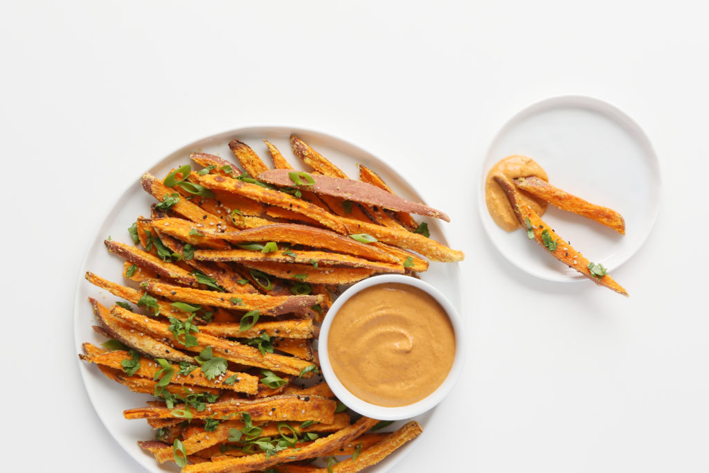 Sweet Potato Fries with Spicy Almond Butter Dip